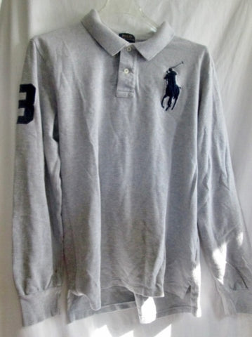 TEEN BOYS RALPH LAUREN POLO Long Sleeve #3 LOGO Shirt Top GRAY 18-20 Pullover