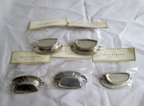 "New NIP POTTERY BARN Set Lot 5 NICKEL BIN PULL Drawer HARDWARE 3.5"" Belly Plate SILVER"