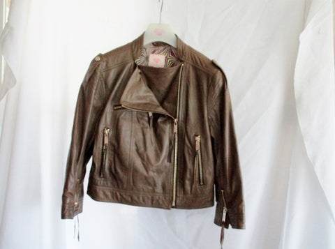 MATTHEW WILLIAMSON LEATHER Moto Riding jacket coat 12 Biker KHAKI