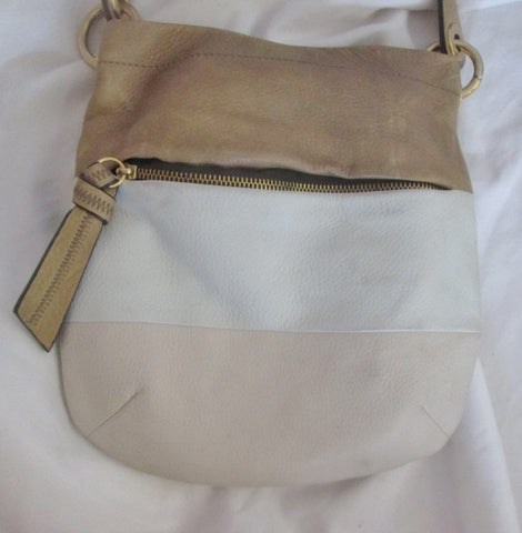 B. MAKOWSKY leather stripe hobo satchel shoulder sling bag bucket BEIGE S Neutral