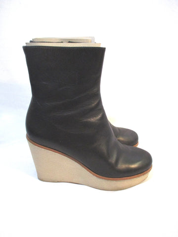 JIL SANDER Leather WEDGE Heel Bootie Ankle Boot 36 BLACK Womens