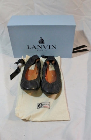 Womens LANVIN PARIS Leather Ballet Flat Shoe 37 / 6.5 BLACK Slip-on