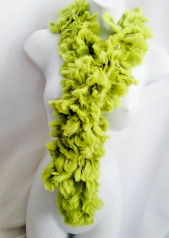 TRILOGY COLLECTIONS LOOPED RABBIT FUR SCARF Boa Neck Warmer GREEN AVOCADO Pom Pom Fringe