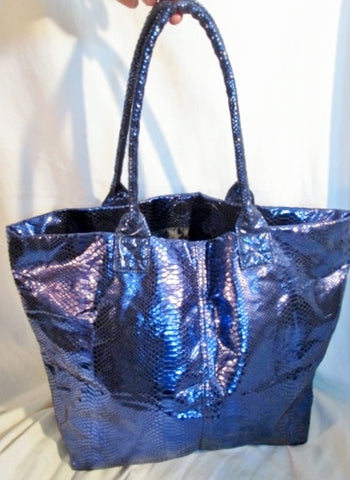 NEW MACY'S Vegan PYTHON SNAKESKIN Tote Shoulder Bag Carryall PURPLE METALLIC Purse