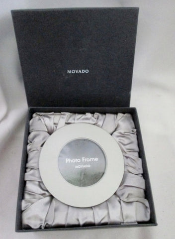NEW NIB MOVADO PHOTO FRAME Sphere Art HOLDER Round Display SILVER Metallic