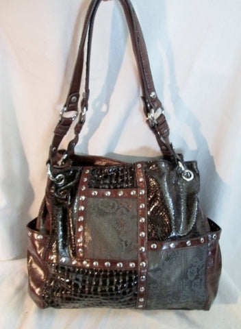 KATHY VAN ZEELAND Vegan Tote Bag Satchel Shoulder BROWN CROC LACE STUD Patchwork