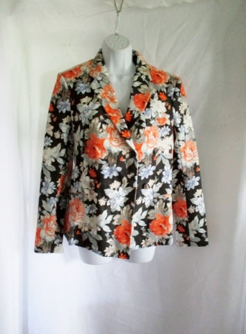 NWT New CELINE FRANCE 100% Cotton PEONY blazer jacket coat 38 6 FLORAL Black