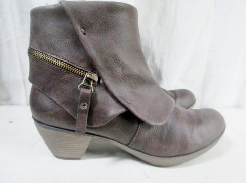 Womens NINE WEST O-ME3Y Vegan Ankle Boot Bootie Shoe BROWN 8