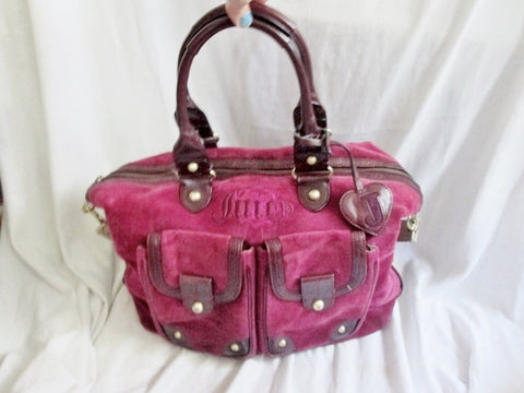 JUICY COUTURE Leather Velvet Heart purse leather satchel BERRRY PINK tote WINE RED L