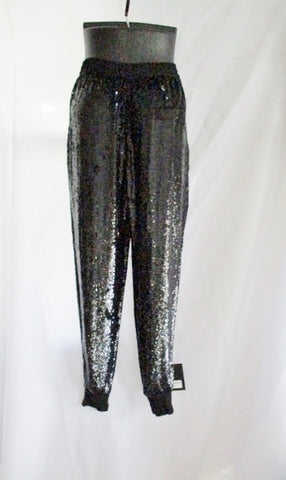 NEW NWT ASHISH Sequin Trouser PANTS BLACK XS Goth Womens Track Lounge