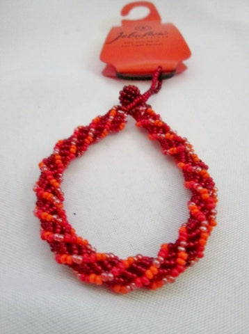 NEW NWT JABULANI KWAL-ZULU Natal Bead ROPE BRACELET Tribal Ethnic Cuff ORANGE RED Bangle