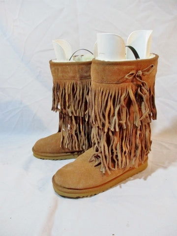 Womens ASENECAH FUR Lined Suede Fringe Bootie BROWN 8 Moccasin