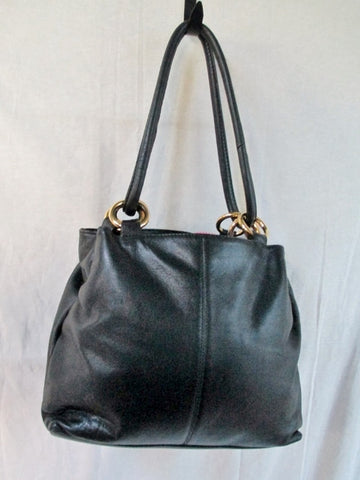 COURTENAY Brand Leather Tote Purse Handbag  HOOP LOOP Carryall BLACK L