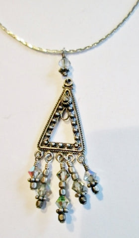 "18"" PYRAMID JEWEL ENCRUSTED CRYSTAL TRIANGLE SILVER Pendant NECKLACE Dangling CHOKER"