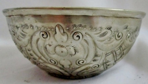 "NEW 5.5"" Handmade SILVER HAMMAM MM Turkish Bath Bowl Engraved SILVER Ethnic Serving"
