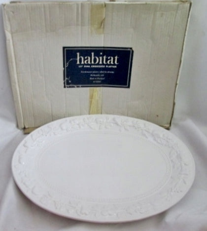 "HABITAT PORTUGAL OVAL EMBOSSED 19"" Ceramic Pottery SERVING PLATTER TRAY LEAF WHITE"