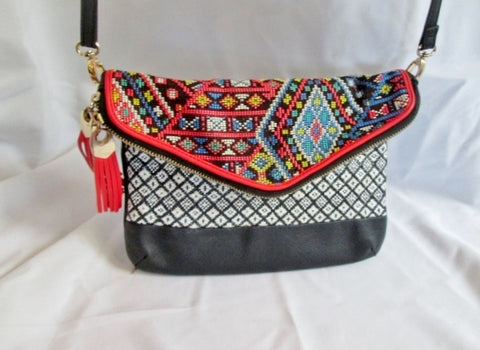 ALDO Faux Leather Shoulder Bag Envelope Flap Purse Crossbody ETHNIC Colorful