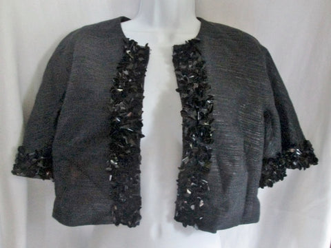 NWT NEW TRINA TURK Womens CAVIAR JACKET BOLERO Crop Coat 4 BLACK $358