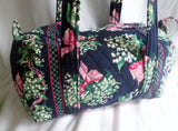 VERA BRADLEY Vegan Quilted Bag Satchel Bowler Duffle RETURN TO HAPPINESS BLUE FLORAL S