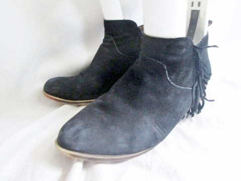 Womens LUCKY BRAND Suede Fringe Ankle Boots Booties BLACK 10 Leather Hippie Boho