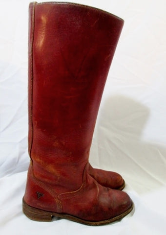 Womens FRYE Leather BOOTS 6750 Western Cowboy Boot BROWN RED 6 USA