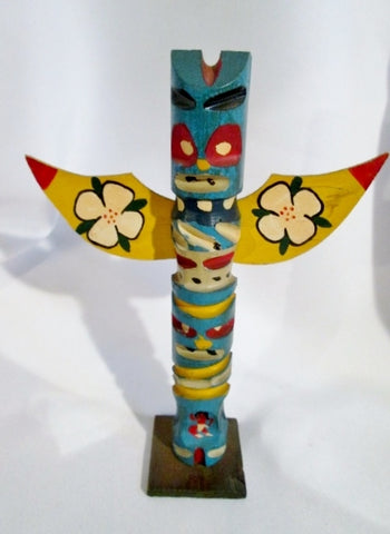 Handmade Carved Wood ALASKA ECHO POINT TOTEMS Statue Totem Pole Art BLUE Vintage