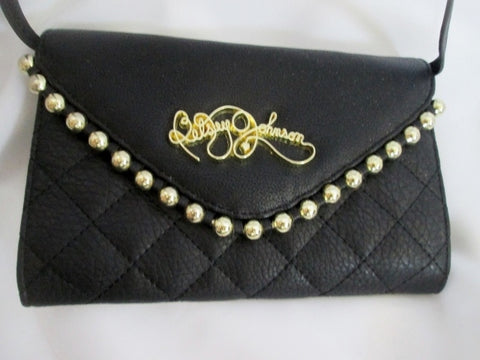 NEW BETSEY JOHNSON Quilted Vegan Shoulder Bag Purse Swingpack Wallet BLACK