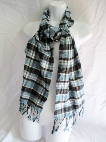 Mens Womens Ladies Scotland CASHMERE SCARF PLAID CHECK Fringe BLUE BLACK