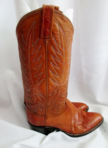 Youth DAN POST KIDS Leather Western Cowboy Boot BROWN Sz 5 C Snakeskin