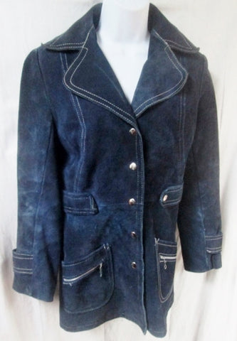 Womens MADE IN CANADA Military Style Suede Leather Jacket Coat Hipster BLUE S