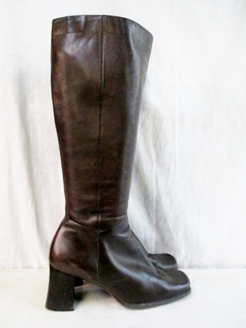 NINE WEST ZARRASO Knee High LEATHER Goth Square Toe BOOT Shoe BROWN 7