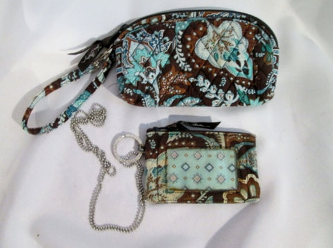 2 Pc VERA BRADLEY wristlet change purse wallet organizer Zip BROWN JAVA BLUE