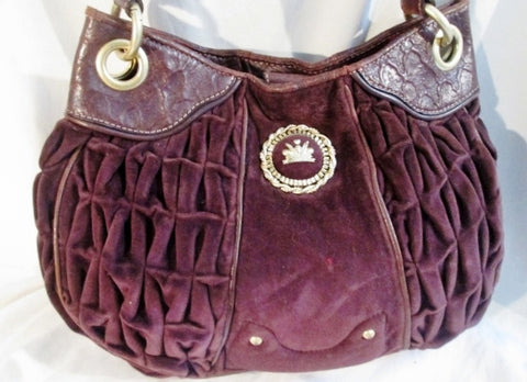 JUICY COUTURE Leather Velvet CROWN hobo purse satchel rouched PURPLE ROYAL L stud