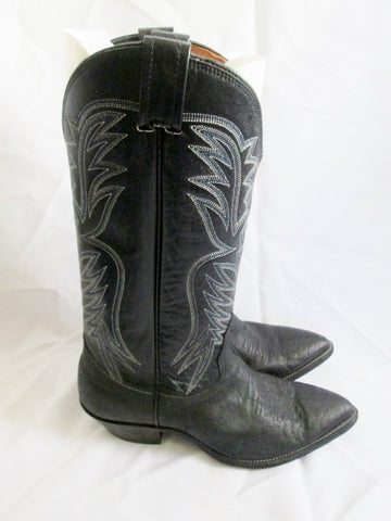 Womens NOCONA BOOTS USA Western Cowboy Leather 7.5 BLACK Rider ROCKER Rodeo