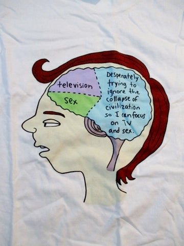 NEW TELEVISION SCREEN TV Distraction BRAIN Humor T-SHIRT WHITE S Gift Teen Comic