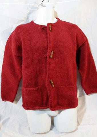 HANTU TAMIA  INCA QUICHUA Sweater Wool Cardigan Ethnic XL RED Handwoven