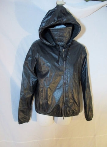 New CELINE ITALY LAMBSKIN LEATHER BIKER HOODIE jacket coat 38 Womens BLACK Rocker  Flight Bomber