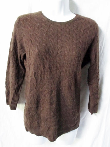 Womens Ladies J. CREW 100% Cashmere Cable Knit Pullover Sweater Jumper BROWN M
