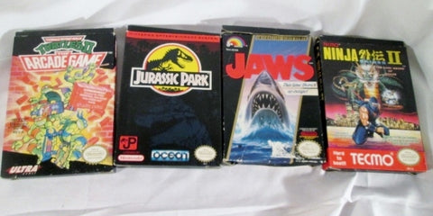 Lot Vintage NINTENDO TECMO Video Game Set JAPAN NINJA JAWS JURASSIC PARK TURTLE