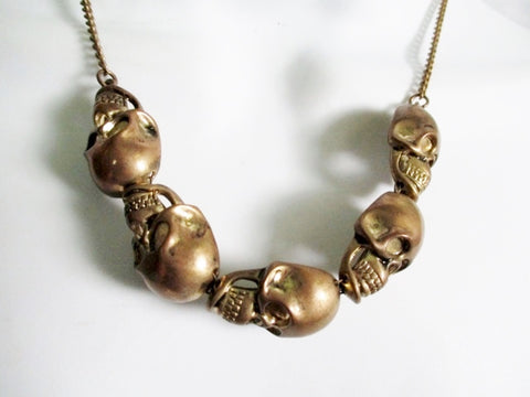 SKULL BONE SKELETON CHAIN Head Choker Necklace GOLD Tattoo Goth