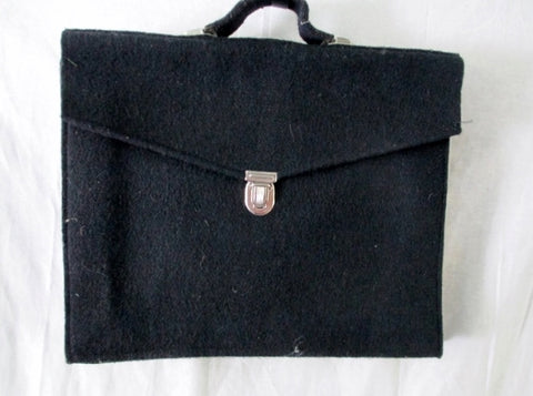 D. LACILLA PARIS Wool Briefcase Bag Document Portfolio Case L BLACK LAULLA