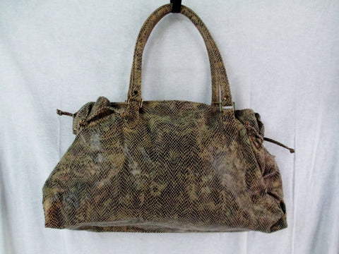 NEW YORK & COMPANY Faux Snakeskin TOTE carryall shopper handbag bag BROWN