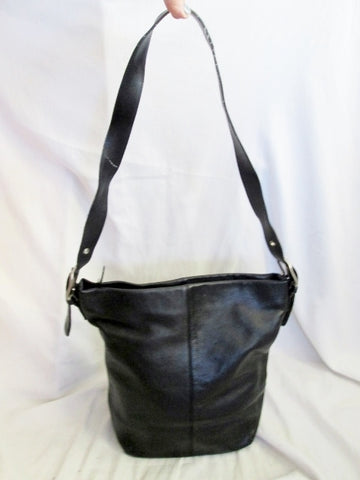EDDIE BAUER leather Cross body satchel shoulder bag BLACK man purse Bohemian Boho Hipster