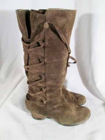 Womens SOFFT SUEDE Criss Cross Strappy Tall Boho Hippie Boots Leather 10 BROWN