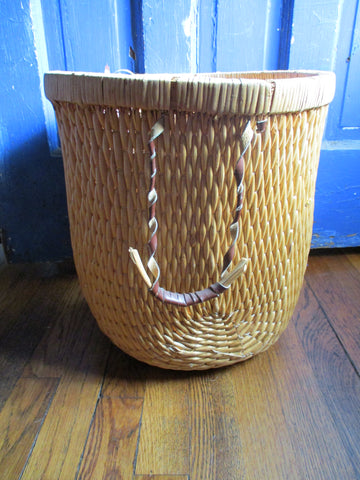 "Natural 14.5"" Woven BASKET Container STORAGE ORGANIZER Can Bucket"