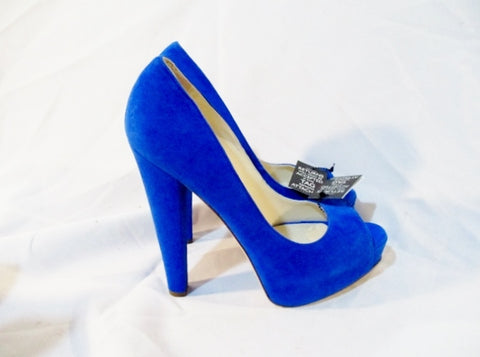 NEW BRIAN ATWOOD Suede High Heel Pump Shoe BLUE 36.5 / 6 Womens Peep Toe LEATHER