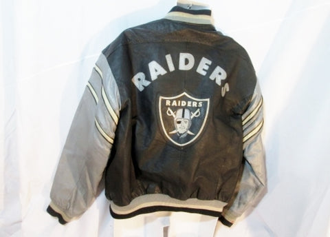 Mens OAKLAND RAIDERS Leather FOOTBALL VARSITY LETTERMAN JACKET Coat L BLACK SILVER