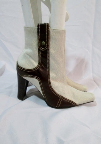 Womens TABITA FUR Leather Ankle High Heel BOOTS 8 Bootie CREME BROWN