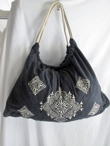GRACIE ROBERTS Festival Loop Hoop Vegan Ethnic Circular Bag BLACK Tote Embroidered