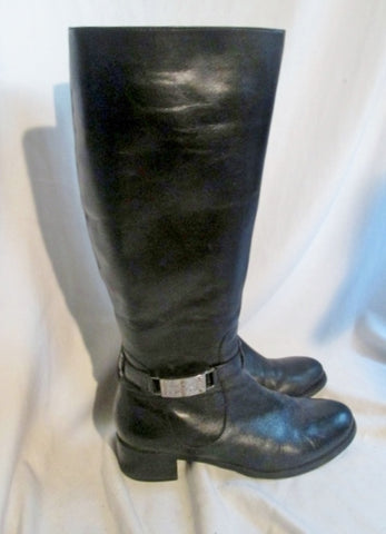 Womens ETIENNE AIGNER CRETE Leather Knee High Stud Boots BLACK 9.5 Rocker Rider